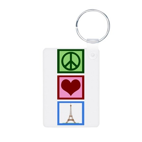 Peace Love Paris Aluminum Photo Keychain