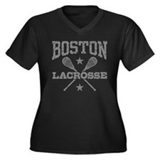 Boston Lacrosse Women's Plus Size V-Neck Dark T-Sh