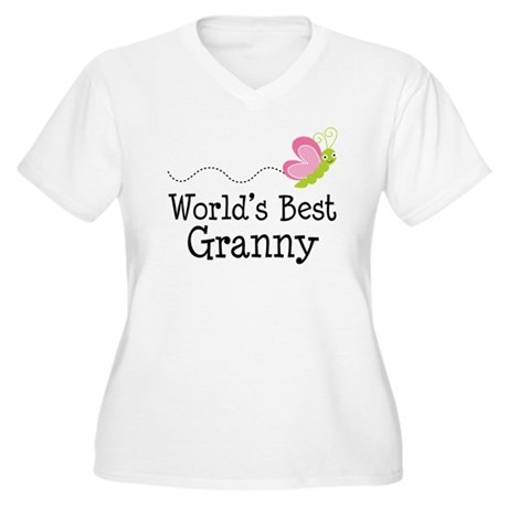World's Best Granny Women's Plus Size V-Neck T-Shi