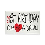 21st Birthday Rectangle Magnet (100 pack)