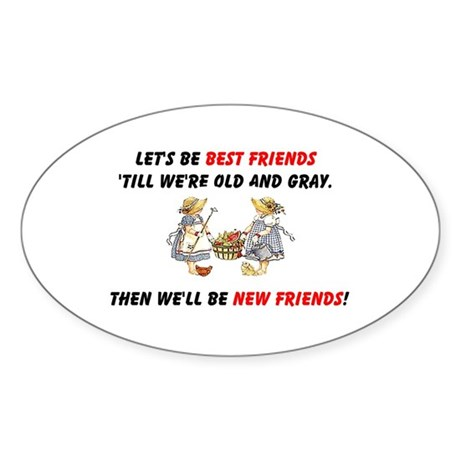 Old New Garden Friends Sticker (Oval 10 pk)