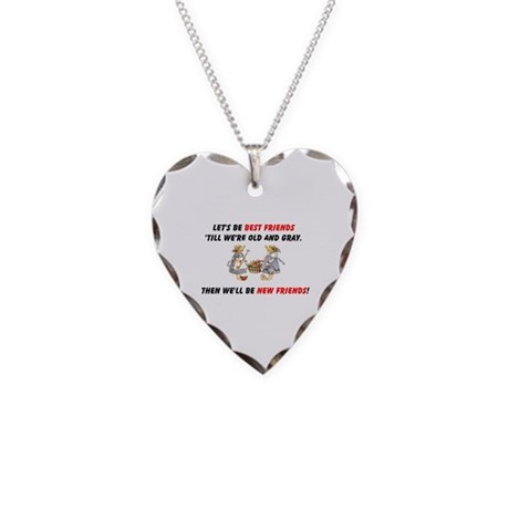 Old New Garden Friends Necklace Heart Charm
