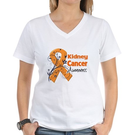 Kidney Cancer Awareness Women's V-Neck T-Shirt