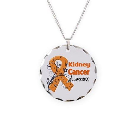 Kidney Cancer Awareness Necklace Circle Charm