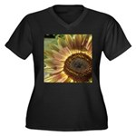 Autumn Sunflower Women's Plus Size V-Neck Dark T-S