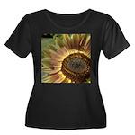 Autumn Sunflower Women's Plus Size Scoop Neck Dark