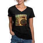Autumn Sunflower Women's V-Neck Dark T-Shirt