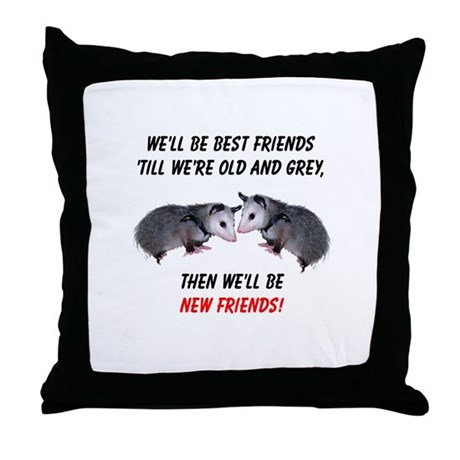 Old New Possum Friends Throw Pillow
