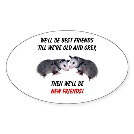 Old New Possum Friends Sticker (Oval)