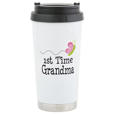 1st Time Grandma Butterfly Ceramic Travel Mug