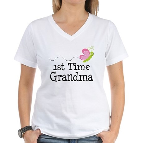 1st Time Grandma Butterfly Women's V-Neck T-Shirt