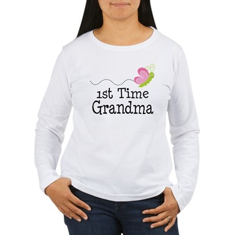1st Time Grandma Butterfly Women's Long Sleeve T-S