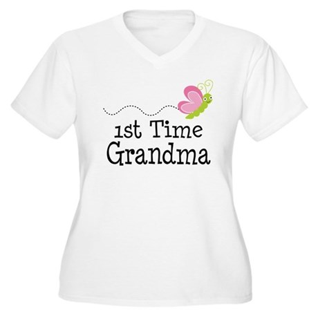 1st Time Grandma Butterfly Women's Plus Size V-Nec