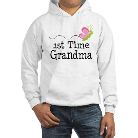 1st Time Grandma Butterfly Hooded Sweatshirt