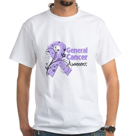 General Cancer Awareness White T-Shirt