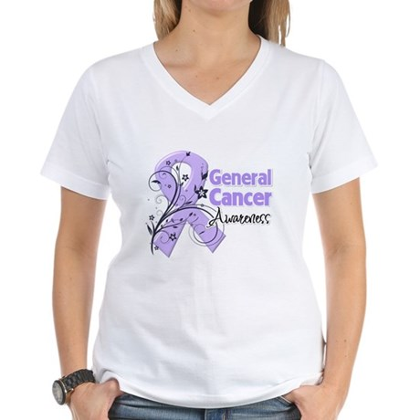 General Cancer Awareness Women's V-Neck T-Shirt