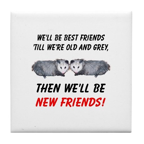 Old New Possum Friends Tile Coaster