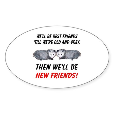 Old New Possum Friends Sticker (Oval 50 pk)