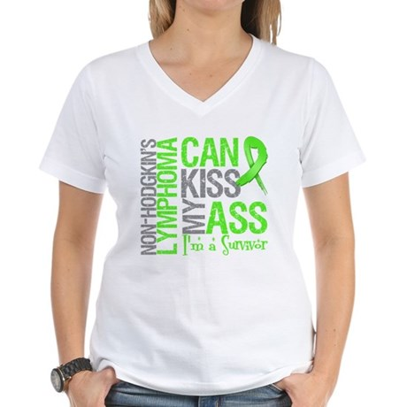 NH Lymphoma Can Kiss Ass Women's V-Neck T-Shirt
