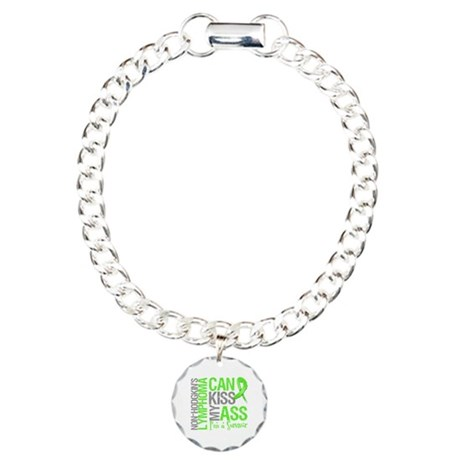 NH Lymphoma Can Kiss Ass Charm Bracelet, One Charm