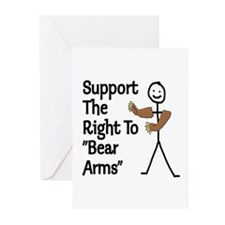 "Support The Right to ""Bear Arms"" Greeting Cards (P"