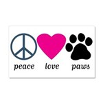 Peace Love Paws Car Magnet 20 x 12