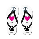 Peace Love Paws Flip Flops