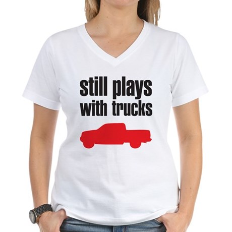 Still plays with trucks Women's V-Neck T-Shirt