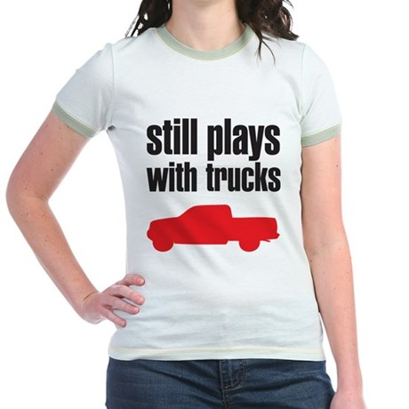 Still plays with trucks Jr. Ringer T-Shirt