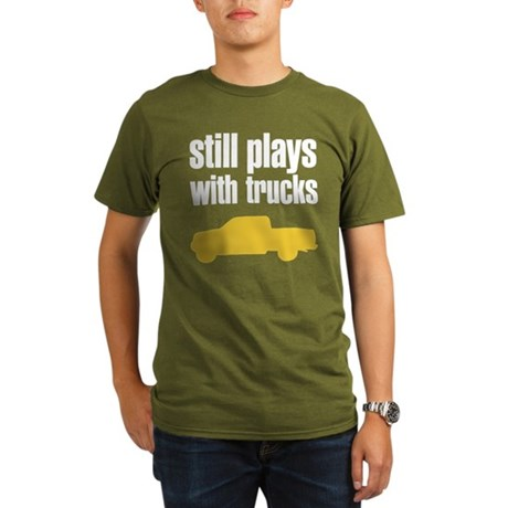 Still plays with trucks Organic Men's T-Shirt (dar