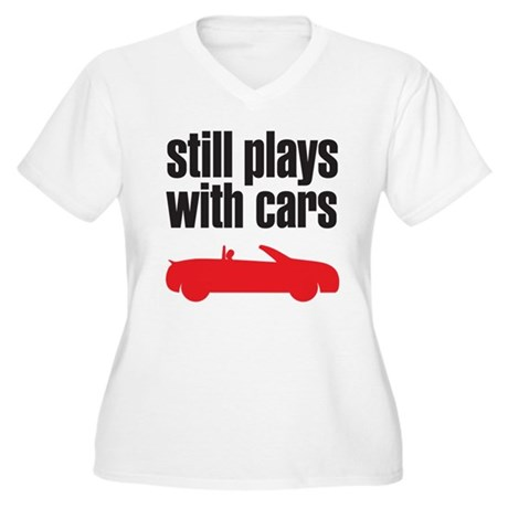 still plays with cars Women's Plus Size V-Neck T-S