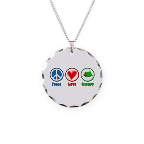 Peace Love Occupy Protest Necklace Circle Charm