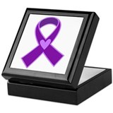 Alzheimer's Purple Ribbon Keepsake Box
