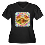 Party Time Chicks Women's Plus Size V-Neck Dark T-