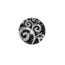 Silver Glitter Swirl Mini Button