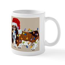 Basset Tangled In Christmas Lights Small Mugs
