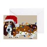 Basset Tangled In Christmas Lights Greeting Card