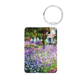 Monet - Irises in Garden Aluminum Photo Keychain