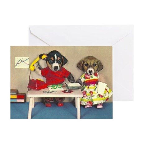 Dogs at the Office Blank Card