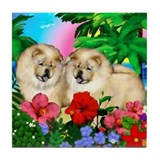 CHOW CHOW DOG CREAM SUNSET Tile Coaster