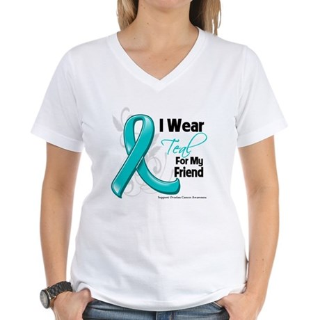 I Wear Teal Friend Ovarian Cancer Women's V-Neck T