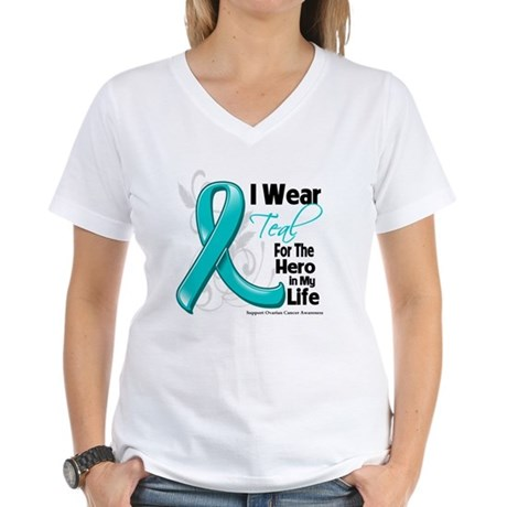 Hero in My Life Ovarian Cancer Women's V-Neck T-Sh