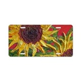 Yellow Sunflowers Aluminum License Plate