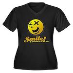 Shocking Smiley Women's Plus Size V-Neck Dark T-Sh