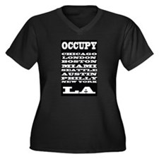 OCCUPY ALL OVER Women's Plus Size V-Neck Dark T-Sh