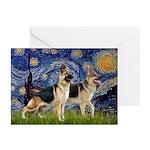 Starry / 2 German Shepherds Greeting Cards (Pk of