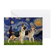 Starry / 2 German Shepherds Greeting Cards (Pk of