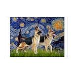 Starry / 2 German Shepherds Mini Poster Print