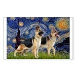 Starry / 2 German Shepherds Sticker (Rectangle 10