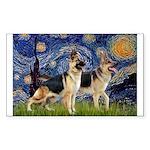 Starry / 2 German Shepherds Sticker (Rectangle)